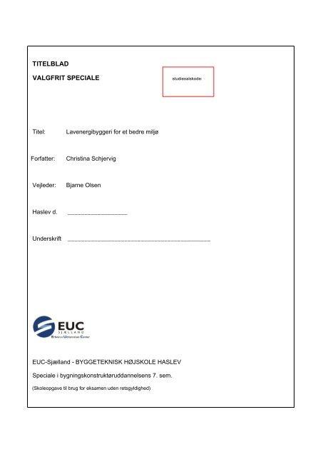 TITELBLAD VALGFRIT SPECIALE - EUC Sjælland