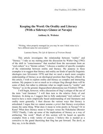 Keeping the Word: On Orality and Literacy (With a ... - Project MUSE
