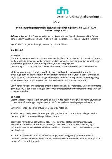 Bestyrelsesmøde den 6. juni 2011 - Dommerfuldmægtigforeningen