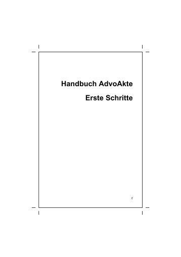 Handbuch AdvoAkte Erste Schritte - AnNoText