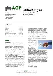 AGP Mitteilungen - Newsletter 01/08
