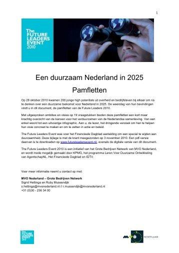 Een duurzaam Nederland in 2025 Pamfletten - Future Leaders Event