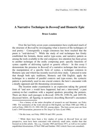 A Narrative Technique in Beowulf and Homeric Epic - Oral Tradition ...