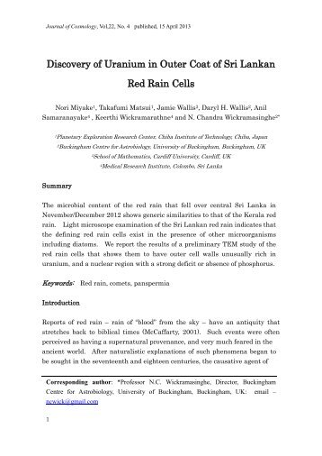 Discovery of Uranium in Outer Coat of Sri Lankan Red Rain Cells