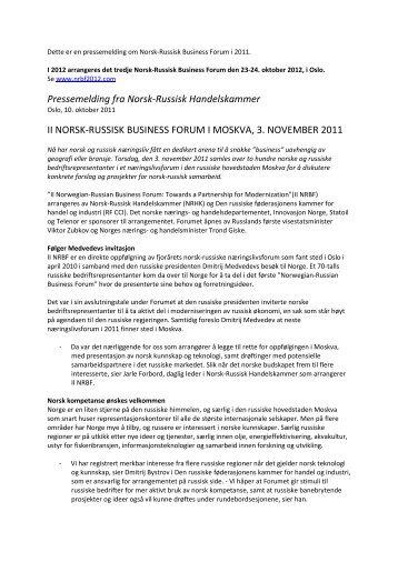 Pressemelding fra Norsk-Russisk Handelskammer II NORSK ...