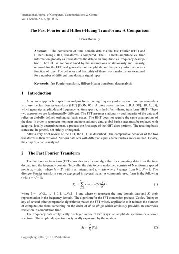 The Fast Fourier and Hilbert-Huang Transforms - International ...