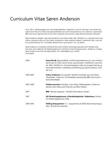 Curriculum Vitae Søren Anderson - ZoomTek