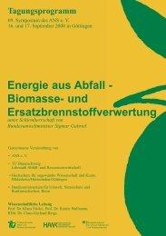 Energie aus Abfall - Biomasse- und ... - ANS eV