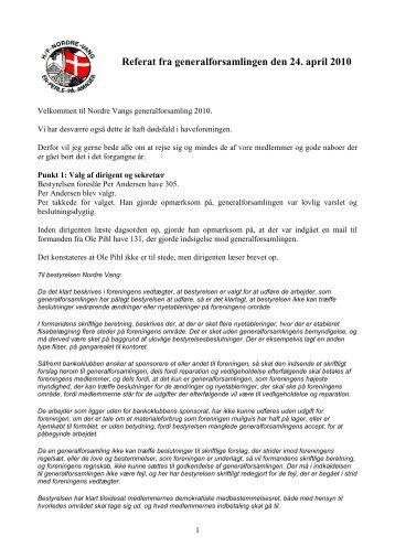 generalforsamling 2010 - Nordrevang, Kolonihave, H/F Nordre Vang ...