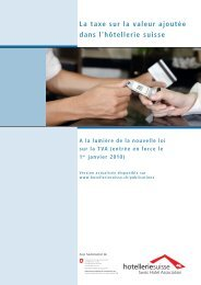 La taxe sur la valeur ajoutée dans l'hôtellerie suisse