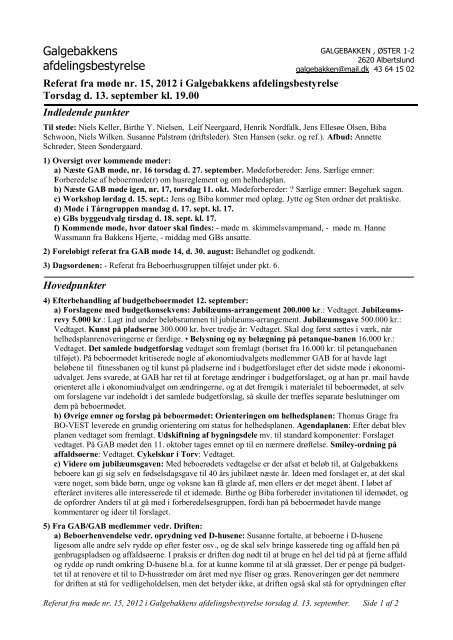 Referat Gab møde no. 15 2012 - Galgebakken