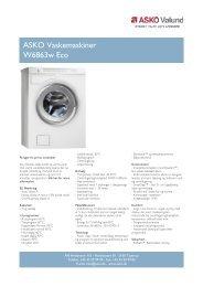 ASKO Vaskemaskiner W6863w Eco - L'EASY Erhverv
