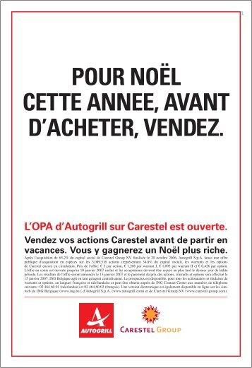 L'OPA d'Autogrill sur Carestel est ouverte. - Autogrill.com