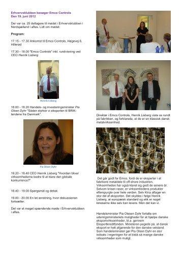 Møde hos Emco, Hillerød den 19. juni 2012 - Erhvervsklubben i ...