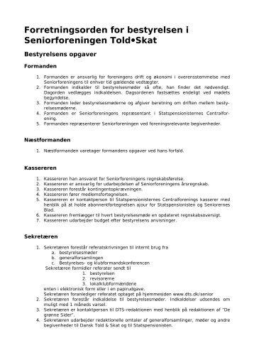 Forretningsorden for bestyrelsen - Dansk Told & Skatteforbund