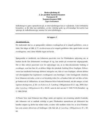 Rettevejledning til 2. års juridisk bacheloreksamen Formueret II ...