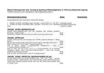 Bilag til Høringsnotat vedr. Forslag til ændring af Bekendtgørelse nr ...