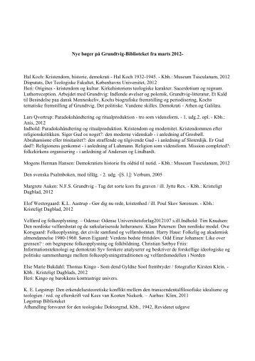 Nye bøger på Grundtvig-Biblioteket fra marts 2012- Hal Koch ...