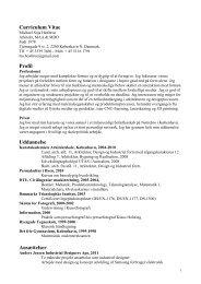 Curriculum Vitae Profil Uddannelse Ansættelser