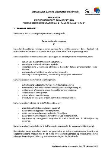 Regler for fritidshjemmenes samarbejdsråd - SdU