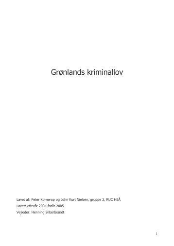 Grønlands kriminallov - Akademisk Opgavebank