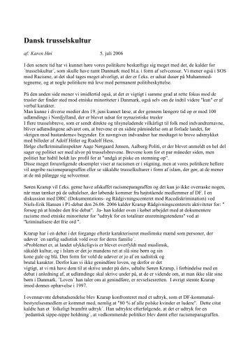 Dansk trusselskultur - SOS mod racisme