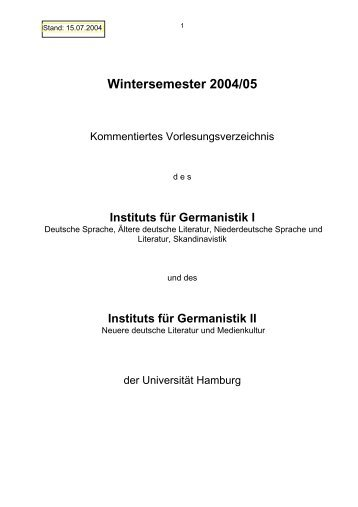 Wintersemester 2004/05 - SLM - Universität Hamburg