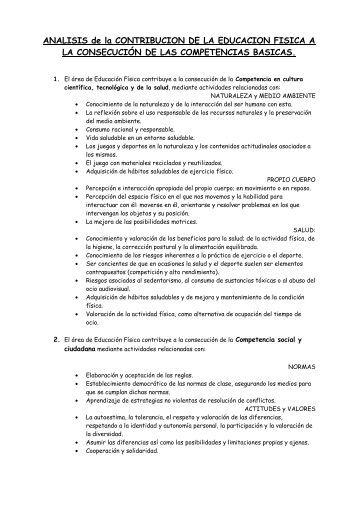 ANALISIS de la CONTRIBUCION DE LA EDUCACION FISICA A LA ...