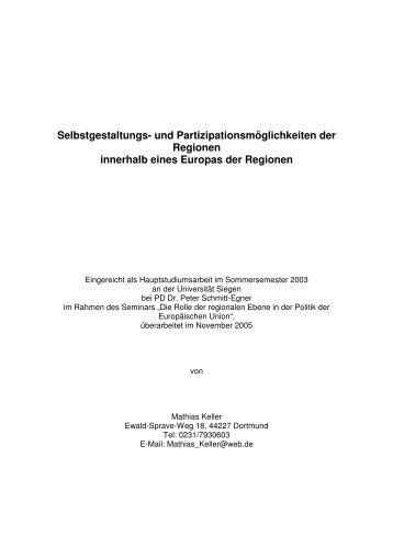 Selbstgestaltungs- und Partizipationsmöglichkeiten ... - Jürgen Bellers