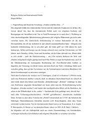 Religion, Kultur und Internationale Politik - Juergen-bellers.de