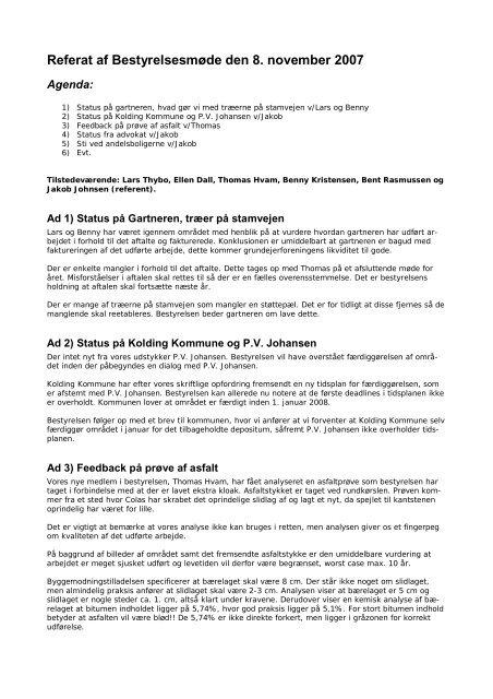 Referat af Bestyrelsesmøde den 8. november 2007
