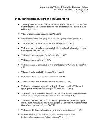 Berger och Luckmann - Högskolan i Skövde