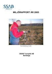 MILJÖRAPPORT ÅR 2005 - SSAB.com