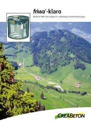 Prospekt friwa ® -klaro Kleinkläranlage - cbb-katalog.ch