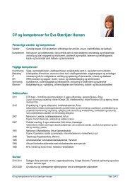 CV og kompetencer for Eva Stærkjær Hansen - Marketing