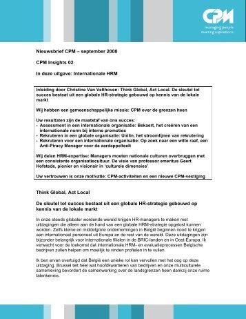 Nieuwsbrief CPM – september 2008 CPM Insights 02 ... - Nederlands