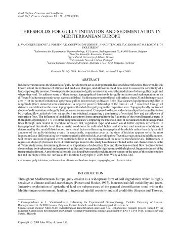 Thresholds for gully initiation and sedimentation in Mediterranean ...