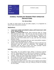 Corneal Transplant Surgery Postoperative Instructions