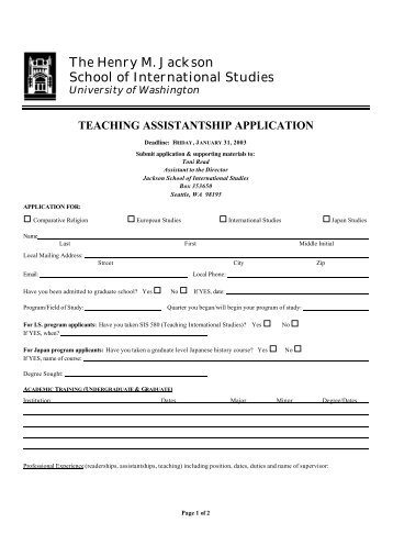 TA Application - Jackson School of International Studies - University ...