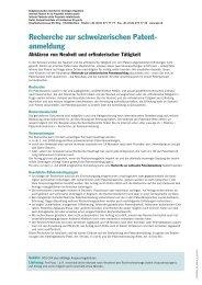 Recherche zur schweizerischen Patent- anmeldung
