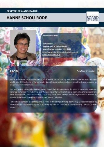 HANNE SCHOU-RODE - Impact Consult ApS