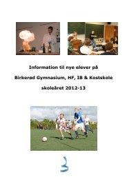 Information til nye elever på Birkerød Gymnasium, HF, IB ...