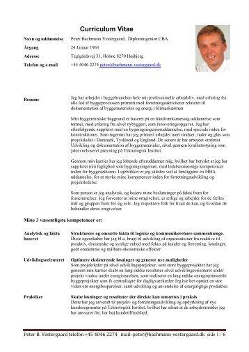 CV Peter B. Vestergaard UK version - bachmann-vestergaard.dk