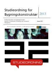 Studieordning for Bygningskonstruktør 2013