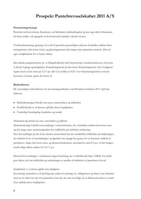 Prospekt Pantebrevsselskabet 2011 A/S - Capital One