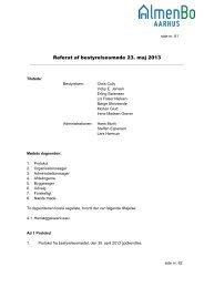 Referat af bestyrelsesmøde 23. maj 2013 - Almenbo Aarhus