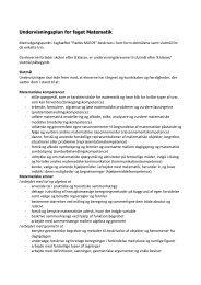 Undervisningsplan for faget Matematik - Brøns Rejsby Friskole