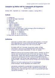Læseplan og fælles mål for matematik på Engskolen