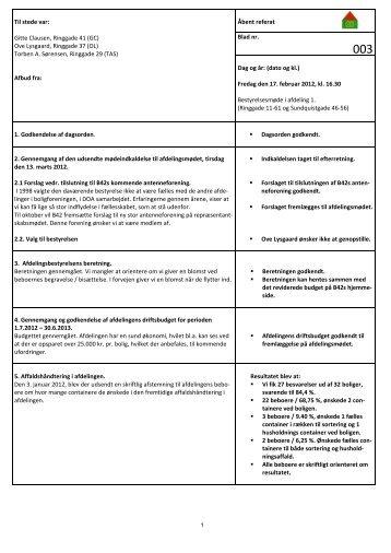 Afdelingsbestyrelsens referat feb 2012 - Boligforeningen B42