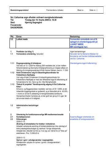 Referat fra d. 10. februar 2009 - Sct. Catharinae Kirke